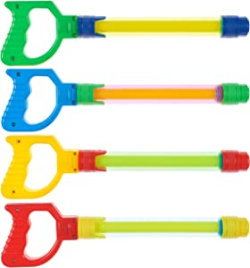Prextex 4 Pack Water Shooter with Easy Grip Handles Fun Summer Toy for Kids Water Blaster