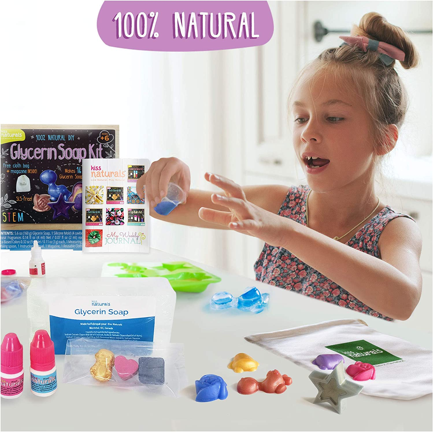 Kiss Naturals DIY Soap Making Kit for Kids - Make Your Own Soap Kit - 100% Organic and All Natural Glycerin Soap - Kids Crafts Science Kit - Made in North America