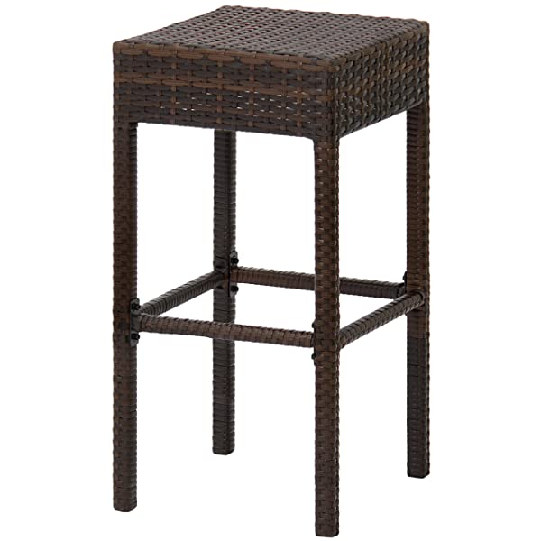 Best Choice Products Set of 2 Dual-Tone Outdoor Furniture Backless Wicker Bar Stools - Brown