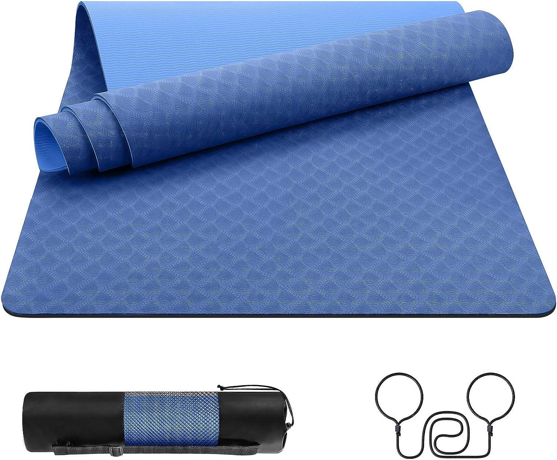 Dustgo Yogamatte Gymnastikmatte Yoga Matte rutschfest Sportmatte f/ür Fitness Pilates /& Gymnastik mit Tragegurt Ma/ße 183cm L/änge 61cm Breite 5 Farben