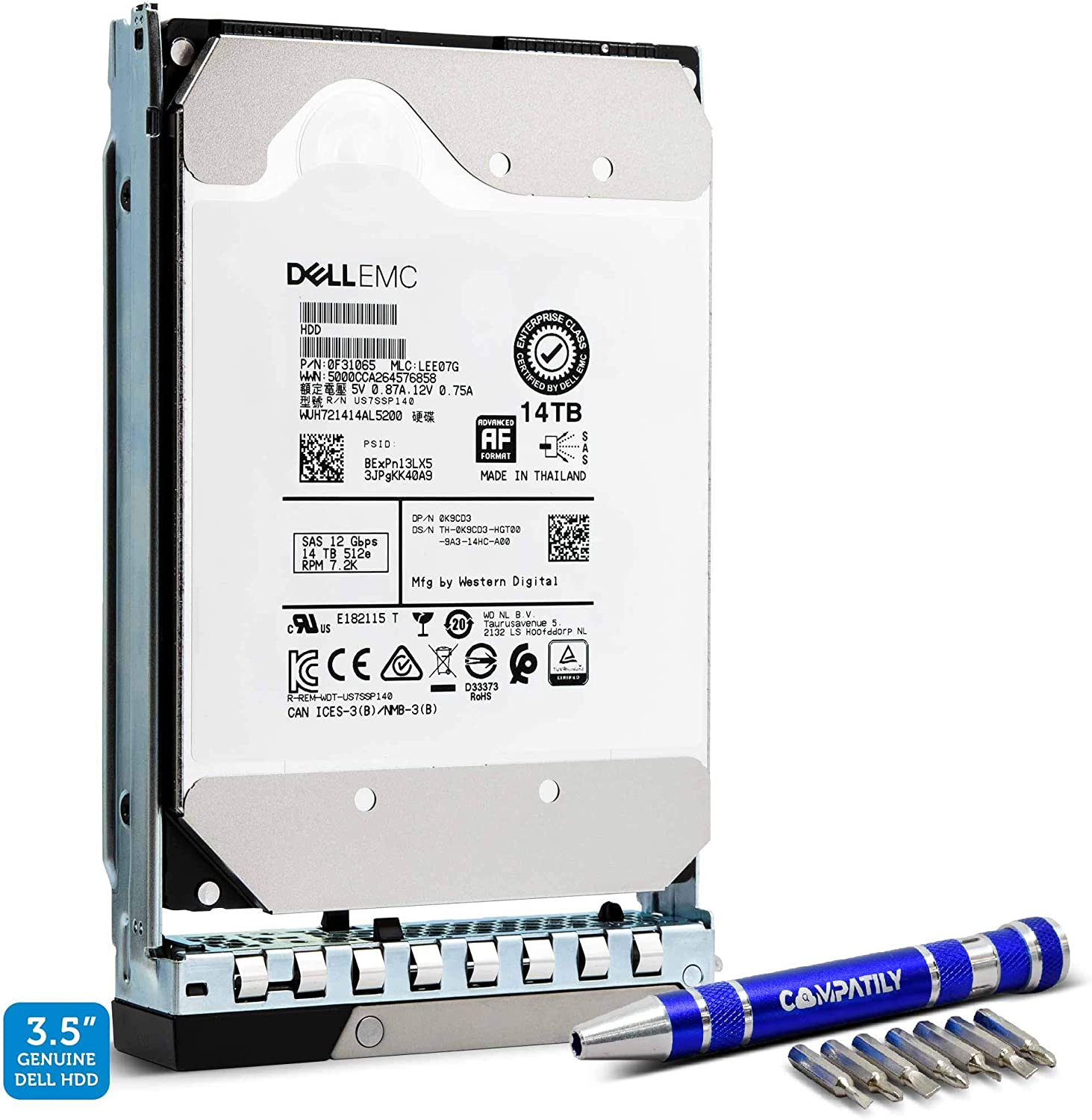 Dell 400-BEII NPDDP 14TB 7.2K RPM SAS 12Gb/s 3.5-Inch Enterprise Hard Drive in 14G LFF Tray for Dell EMC Servers Bundle with Compatily Screwdriver Kit