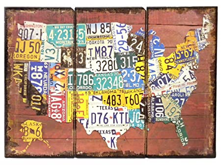 Usa Vintage License Plate Map Wall Art Sign 50 States 27 Amazon - Us-map-made-out-of-license-plates