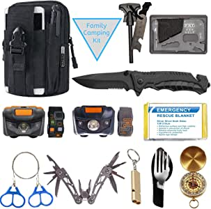Survival Kit for Family - 13-Piece Family Survival Gear Bag - Perfect Outdoor Emergency Kit Accessory - Practical Travel Survival Backpack for Camping, Hiking, Hunting, Earthquake or Car