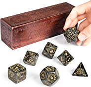 Titan Dice: Nyx | 25mm Giant Polyhedral Dice 7-Piece Set & Engraved Wooden Display Box | Smoke Color with Gold Numbers | Tab