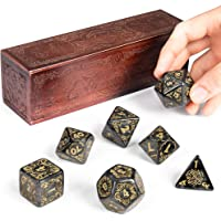 Titan Dice: Nyx   25mm Giant Polyhedral Dice 7-Piece Set & Engraved Wooden Display Box   Smoke Color with Gold Numbers   Tabletop Roleplaying Fantasy RPG Gaming Novelty Accessories