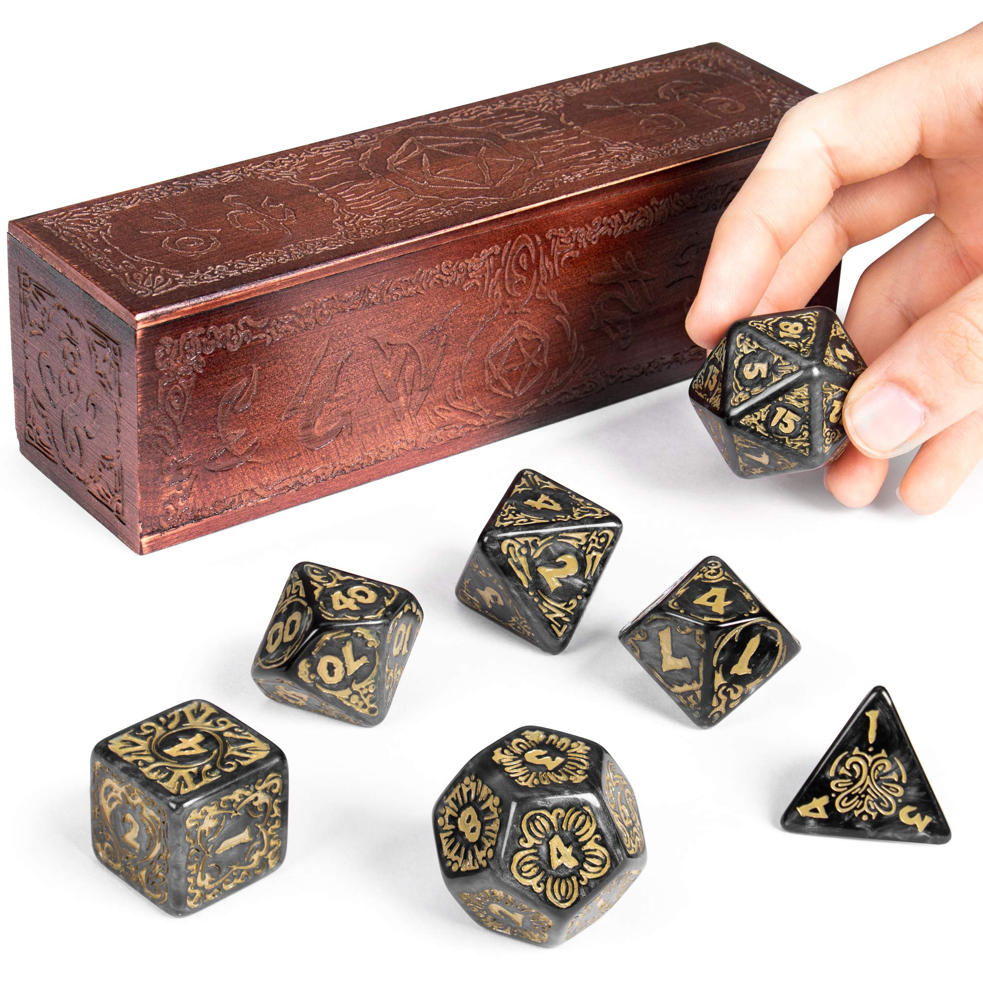 Titan Dice: Nyx | 25mm Giant Polyhedral Dice 7-Piece Set & Engraved Wooden Display Box | Smoke Color with Gold Numbers | Tabletop Roleplaying Fantasy RPG Gaming Novelty Accessories by Wiz Dice