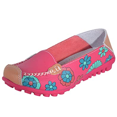 00404fdf4c11 Hee Grand Women Bright Color Flower Printed Slip On Flat Pumps Moccasins UK  3.5 Red