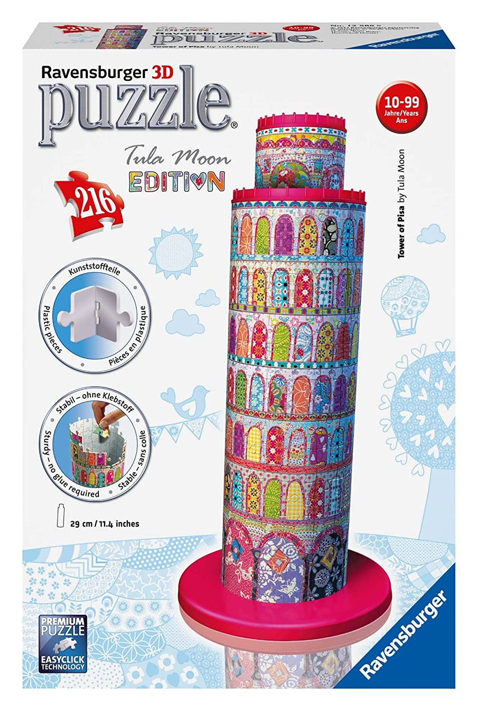 Ravensburger 12568 - Tula Moon Pisa Turm, 3D Puzzle-Bauwerke, 216 Teile Ravensburger Spielverlag Architektur
