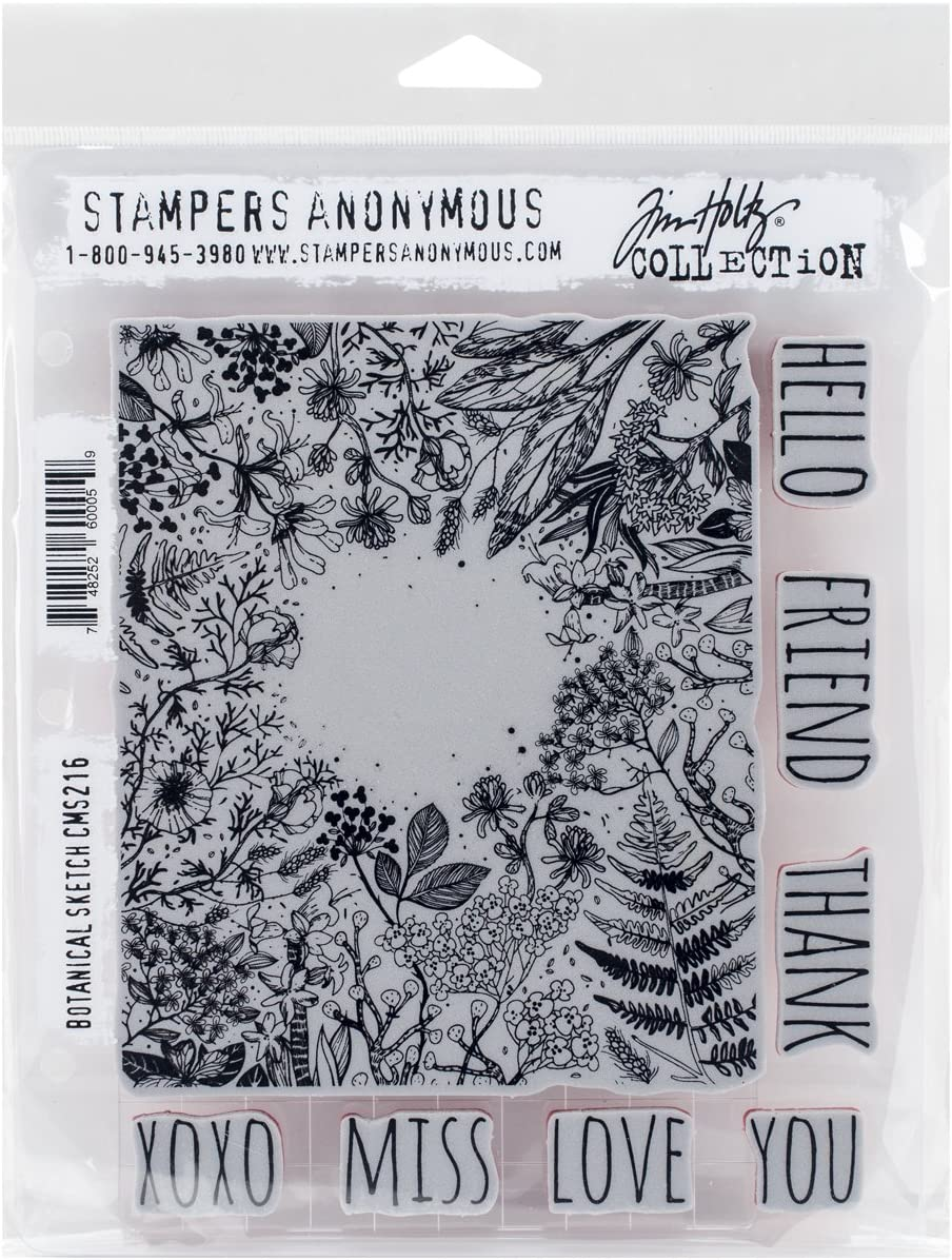 Stampers Anonymous Tim Holtz Cling Rubber Botanical Sketch Stamp Set, 7 x 8.5