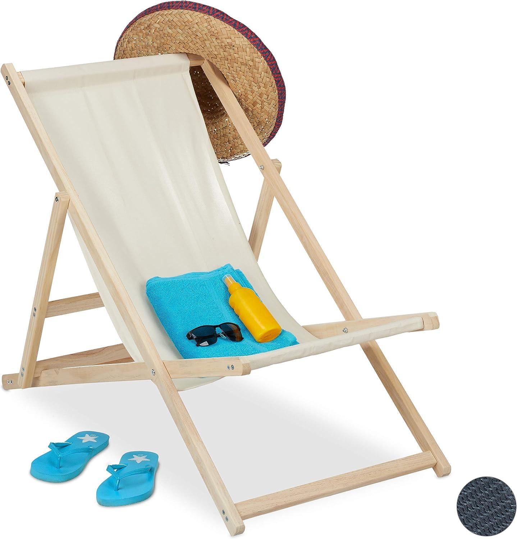 relaxdays Tumbona Plegable, Playa y Jardín, Silla Balcón Relajante, 3 Posiciones, Madera y Tela, 1 Ud, Beige