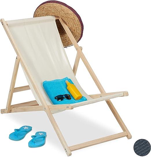 relaxdays Tumbona Plegable, Playa y Jardín, Silla Balcón Relajante, 3 Posiciones, Madera y Tela, 1 Ud, Beige: Amazon.es: Jardín