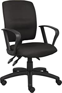 Boss Office Products Multi-Function Fabric Task Chair With Loop Arms in Black