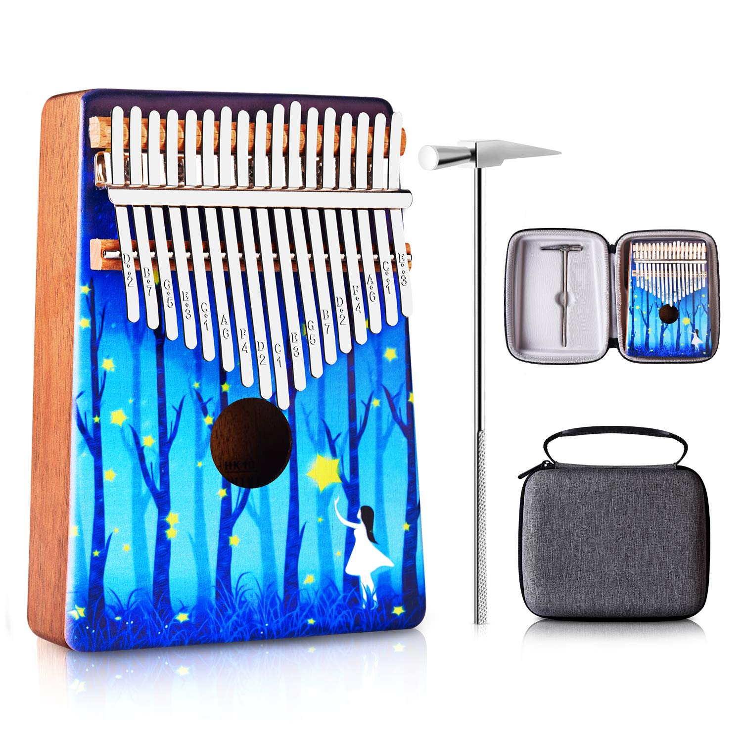 ATUP Kalimba 17 Keys Thumb Piano Solid Finger Piano Mahogany Body with Tuning Hammer Study Instruction Carry Case - Best Birthday Christmas Gift for Music Fans Kids Adults (Blue - Forest)