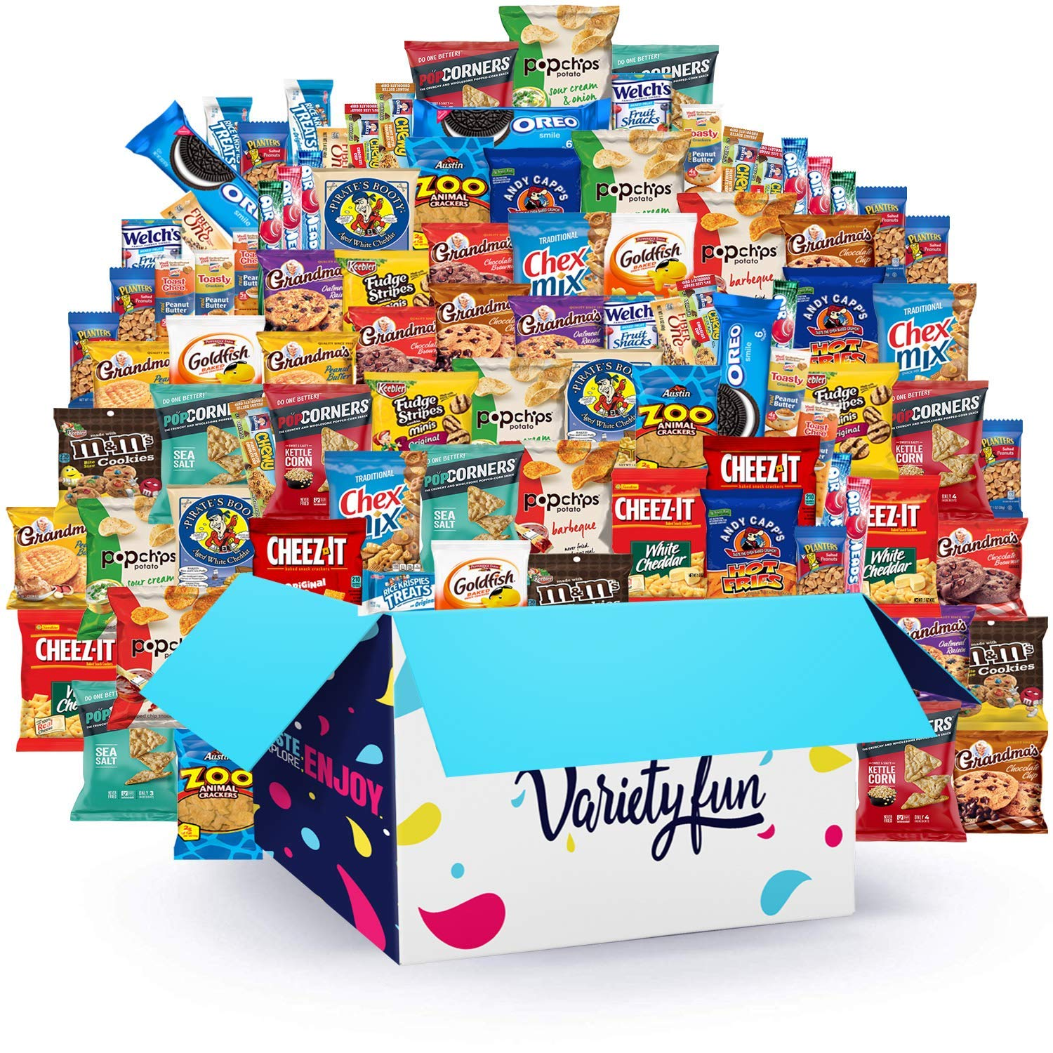 Variety Fun Office Snacks (160 Count) - Bulk Assortment - Over 15 Pounds of Chips Cookies & Candy by Custom Varietea