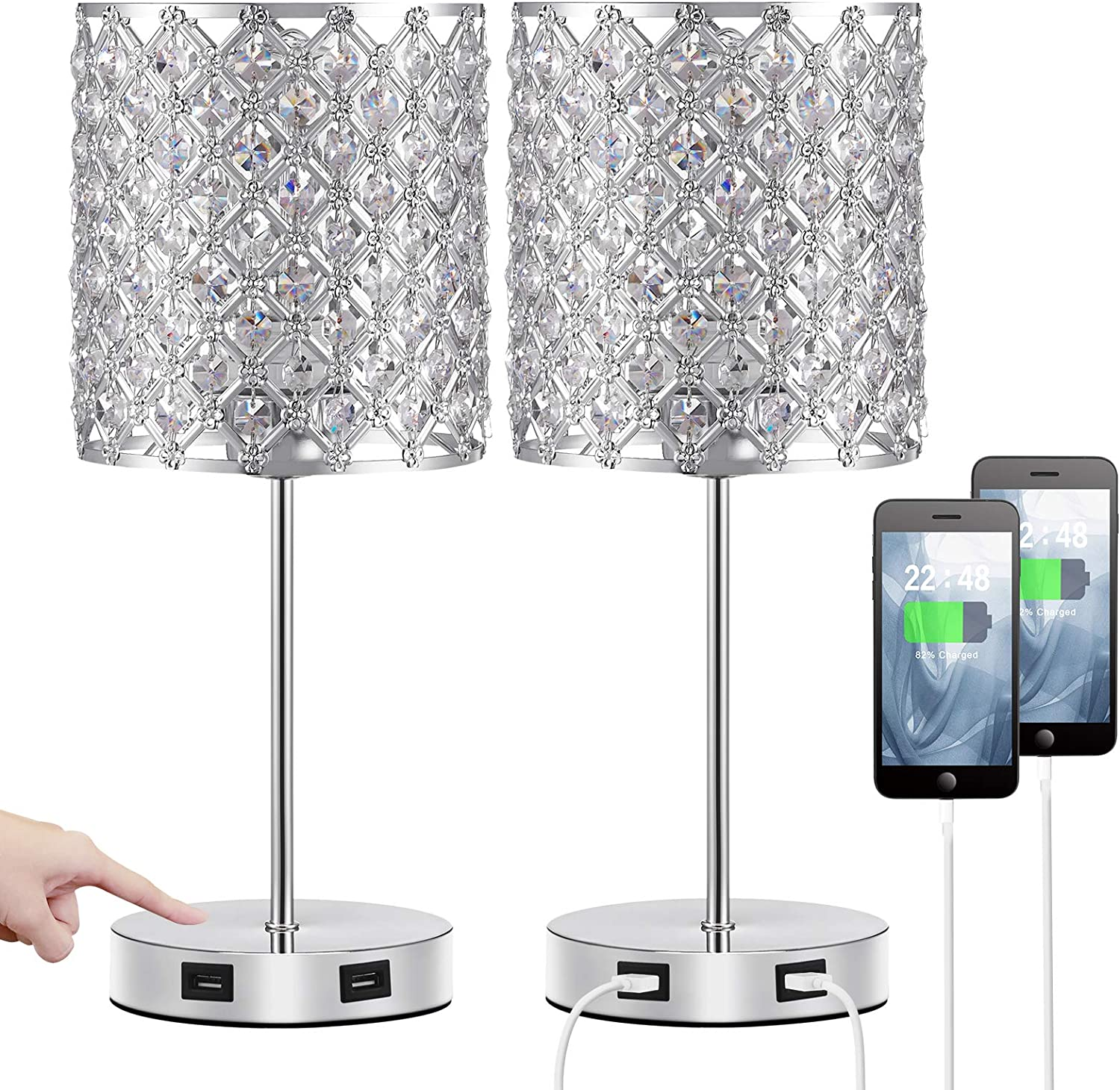 Touch USB Crystal Lamp, Sliver Crystal Lamp Set of 2 with Bulbs, Bedside Lamps with Dual USB Ports and 3 Way Dimmable Touch, Nightstand Lamp Desk Light for Bedroom Living Room(Included Bulbs&2 Packs)