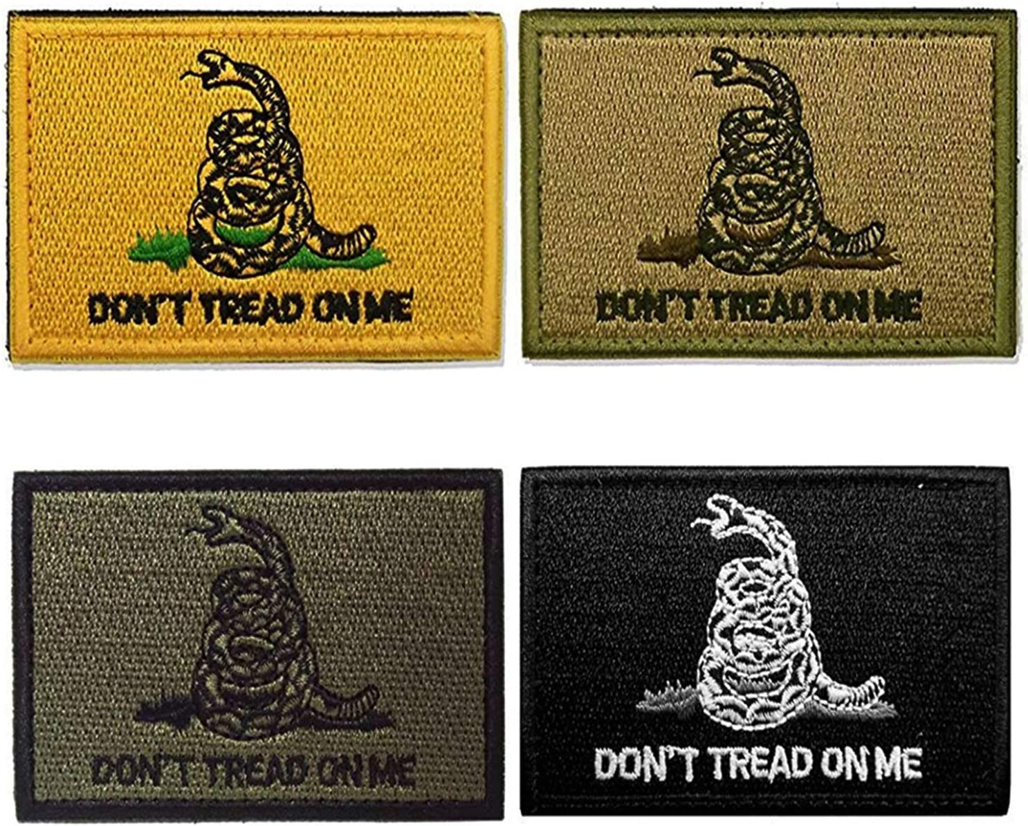 AxeSickle 2x3 Inch Dont Tread on me Embroidered Patch American Flag Patch Tactical Military Morale Patch 4 Pcs.