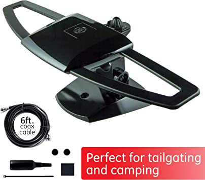GE UltraPro Black Stealth Mobile TV Antenna, Perfect for Tailgating and Camping, Indoor, Outdoor, Attic, Long Range Antenna, Digital, HDTV Antenna, 4K ...