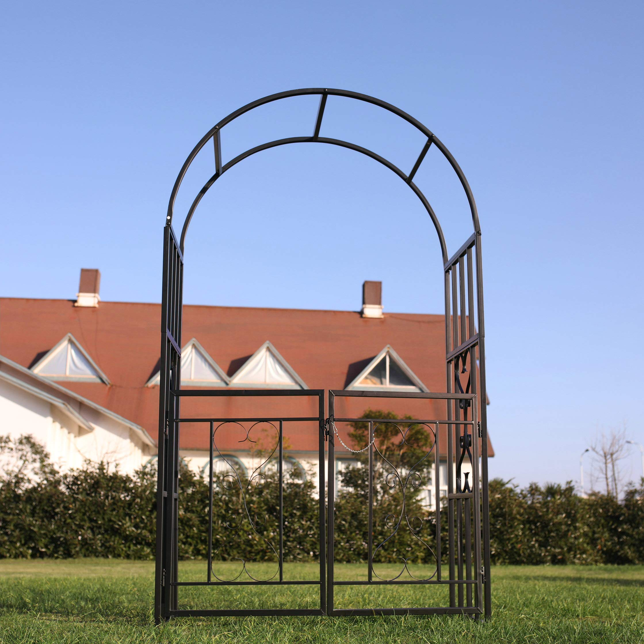 1. GO Steel Garden Arch with Gate, 6'7'' High x 3'7'' Wide, Garden Arbor for Various Climbing Plant, Outdoor Garden Lawn Backyard by 1. GO (Image #4)