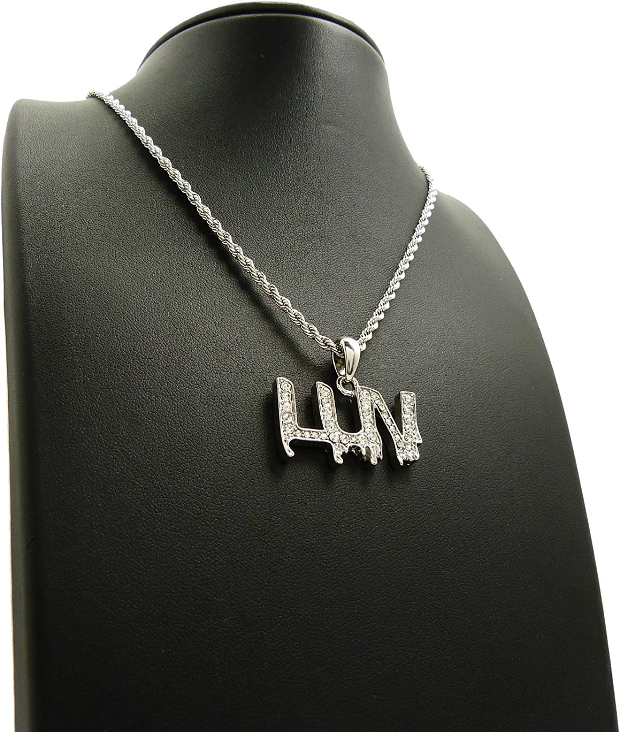 NYFASHION101 Stone Stud LUV Drip Effect Micro Pendant with 2mm 18 Rope Chain Necklace