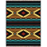 Southwest Geometric Turquoise blanket throw