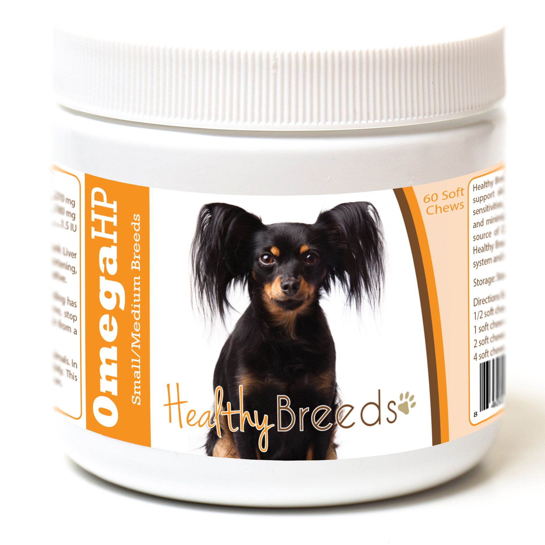 Healthy Breeds Omega 3 Fish Oil for Dogs for Russian Toy Terrier - Over 100 Breeds - EPA & DHA Fatty Acids - Small & Medium Breed Formula - 60 Count