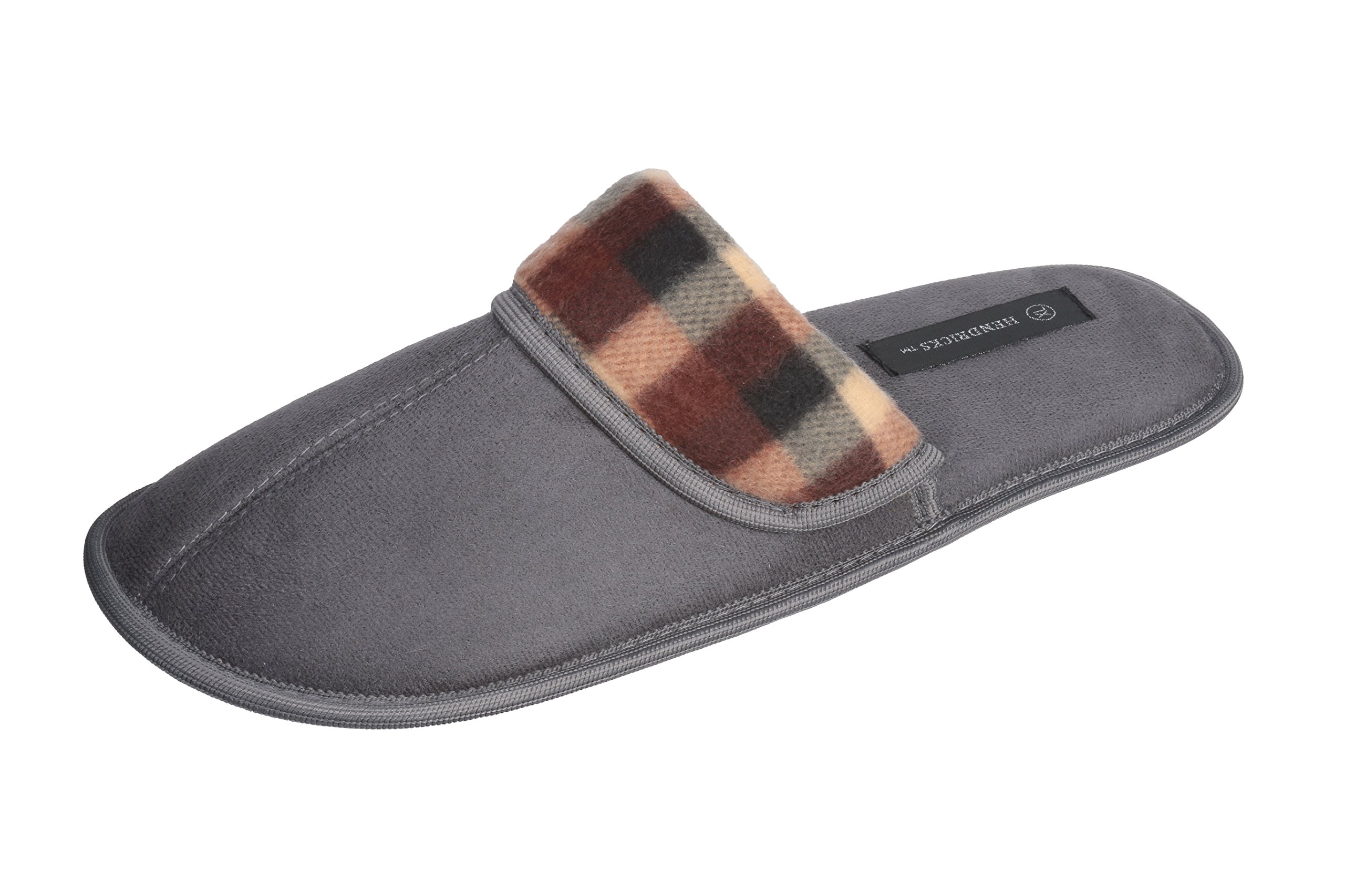 Roxoni Men's Faux Suede Scuff with Plaid Trim Slipper Classic Style with Ultra Soft Comfort Fabric