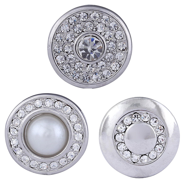 Morella Click-Button Lot de 3 boutons pression pour bijou femme à motif perle Tradict GmbH BW04.BZ04.DL04