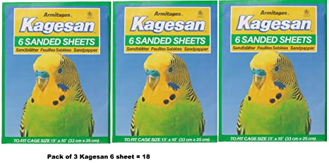 KAGESAN SANDED BIRD CAGE SHEETS 6 33CM X 25CM