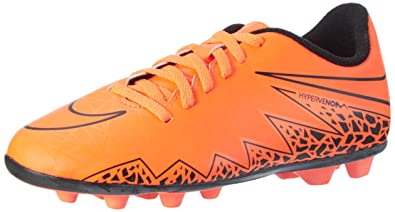 NIKE Junior Hypervenom Phade II Kids Firm-Ground Soccer Cleat Total  Orange/Black Size