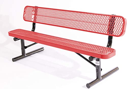 Coated Outdoor Furniture B6WBP-RED Park Bench Back