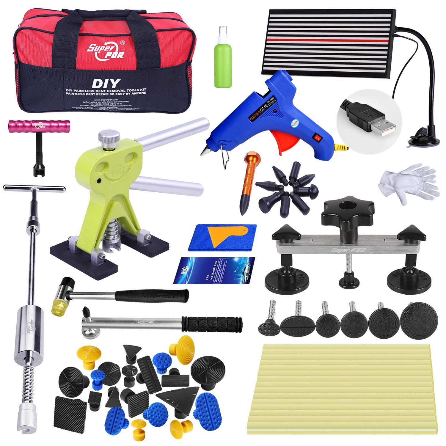 Super PDR 51pcs Auto Car Body Restore Tool Paintless Dent Repair Tools PDR Puller Dent Lifter Puller Tabs with Tools Bag
