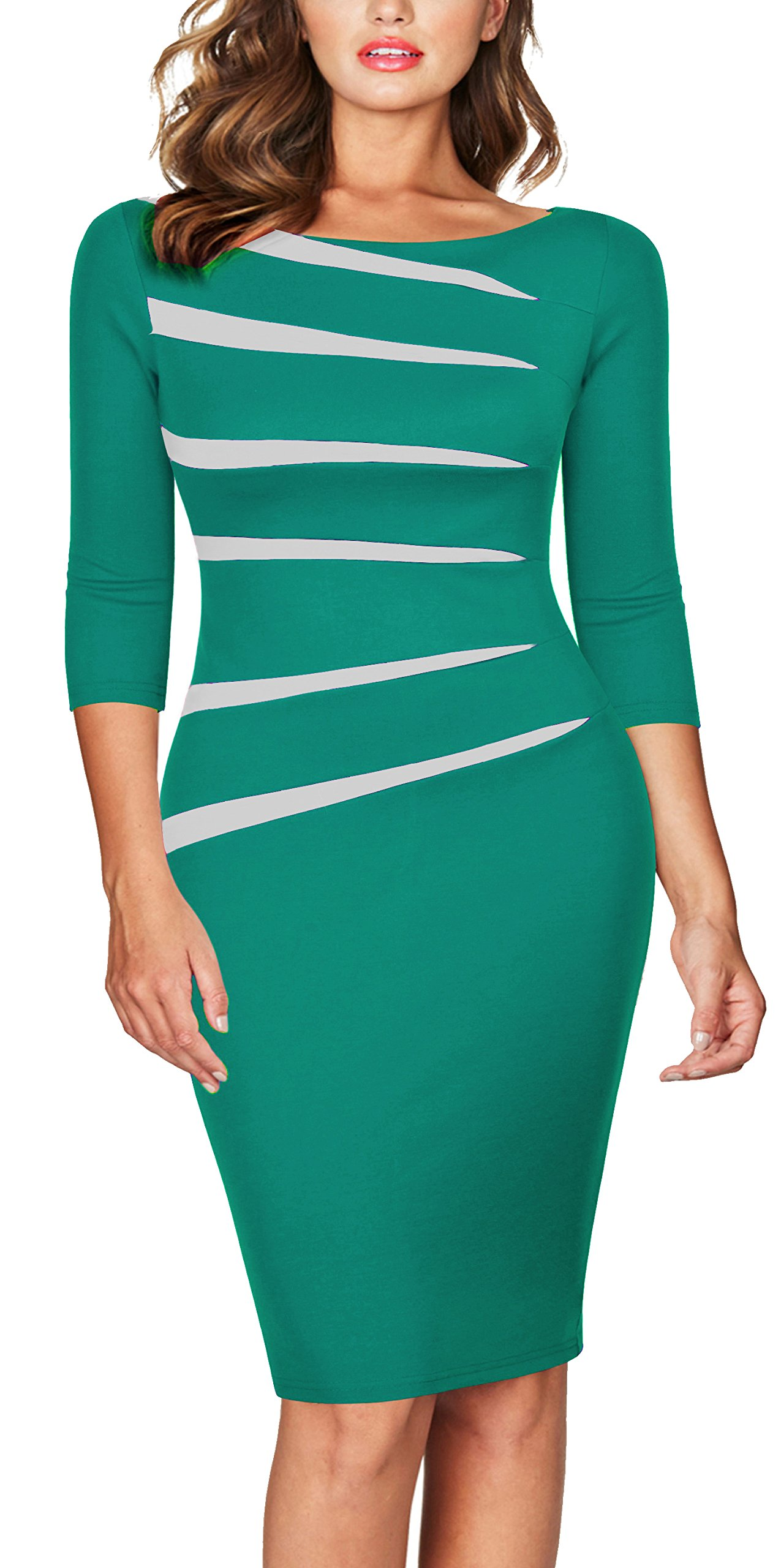 FORTRIC Women 2/3 Sleeve Slim Asymmetric Stitching Bodycon Business Work Pencil Dress Green S