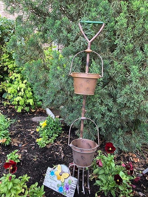 Rústico herramienta de jardín macetas pala y cesta Patio Decoración: Amazon.es: Jardín