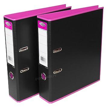 2 x rosa interior negro fuerte A4 polipropileno archivadores gran papel de oficina carpetas de almacenamiento: Amazon.es: Oficina y papelería