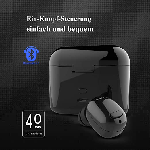 NENRENT S570 + Bluetooth Auricular, Auricular más pequeño Mini Invisible v4.1 Wireless Bluetooth Headset Auricular con 400mAh Estuche Cargador Dock para ...