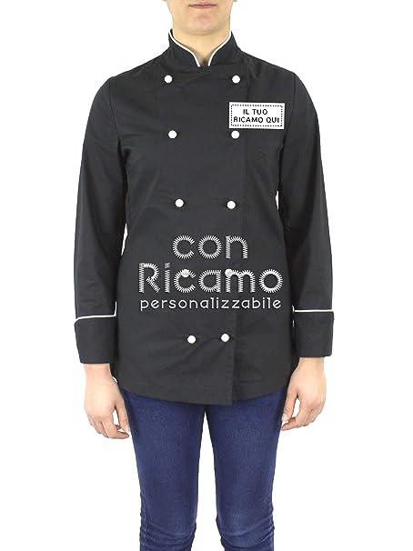 Giacca Cuoco Ricamata con Nome Personalizzabile Online Modello Lady Extra  Light Nero Bianco Isacco  Amazon.it  Abbigliamento 0e0b25776a98