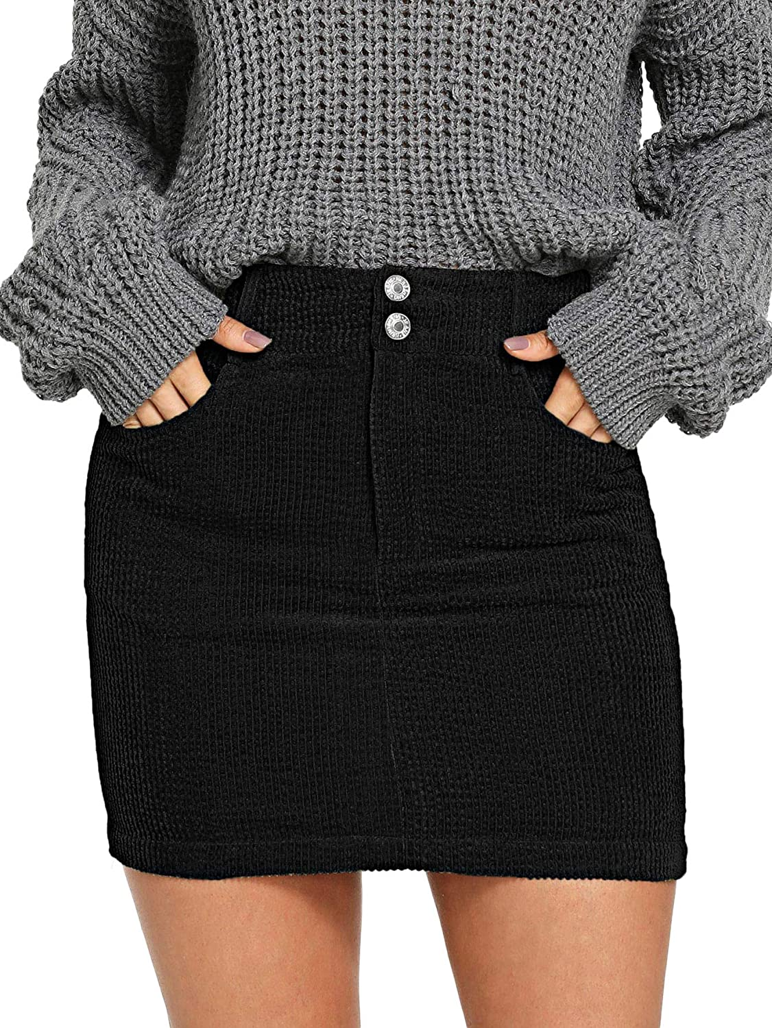 Black WDIRARA Women's Mid Waist Button Front Above Knee Bodycon Corduroy Short Skirt
