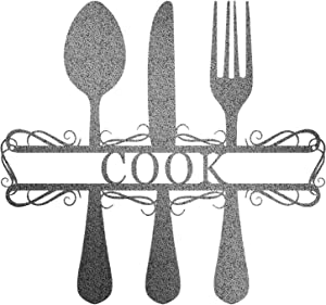 Redline Steel Personalized Wall Decor - Kitchen Fork and Spoon Custom Family Name Sign - Last Names A-Z for Home, Outdoors (Silver, Small)