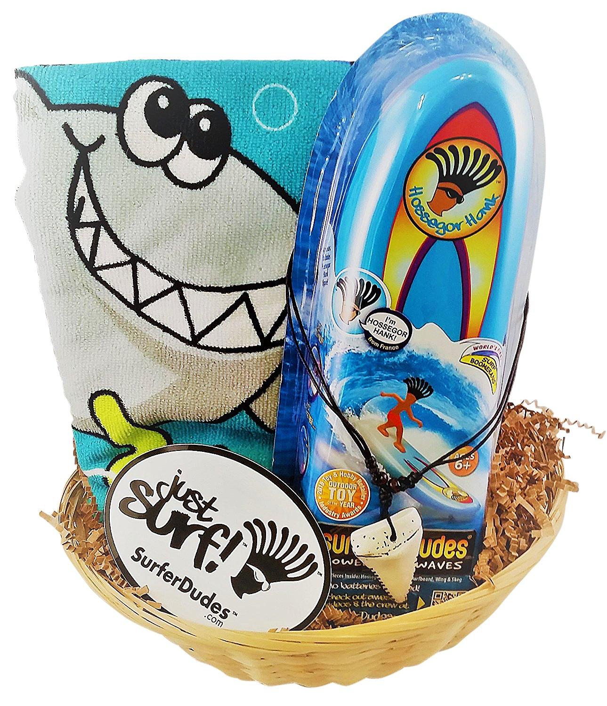 Surfer Dudes 3 Piece Set - Hank Toy, Shark Beach Towel, Shark Tooth Necklace