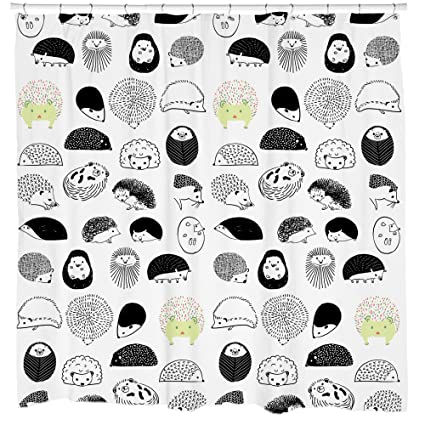 Hedgehog Shower Curtain With Repeating Critter Pattern Boho Chic Woodland Critters Black White Green Waterproof