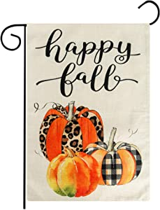 Bassion Fall Garden Flag Welcome Thanksgiving Flag for Autumn Yard Fall Outdoor Decoration Double Sided 12.5 × 17.7 Inches