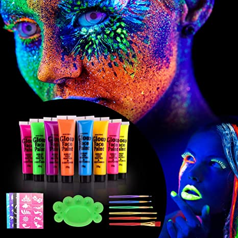 [ 8 x 25ml ] Vernice Fluorescente Colorato Neon Kit, UV Glow Kit Trucco  Viso Body Face Painting