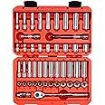 TEKTON Conjunto de soquete e catraca de 6 pontos de chave de 3/8 polegadas, 47 peças (5/16-3/4 polegadas, 8-19 mm) | SKT15301