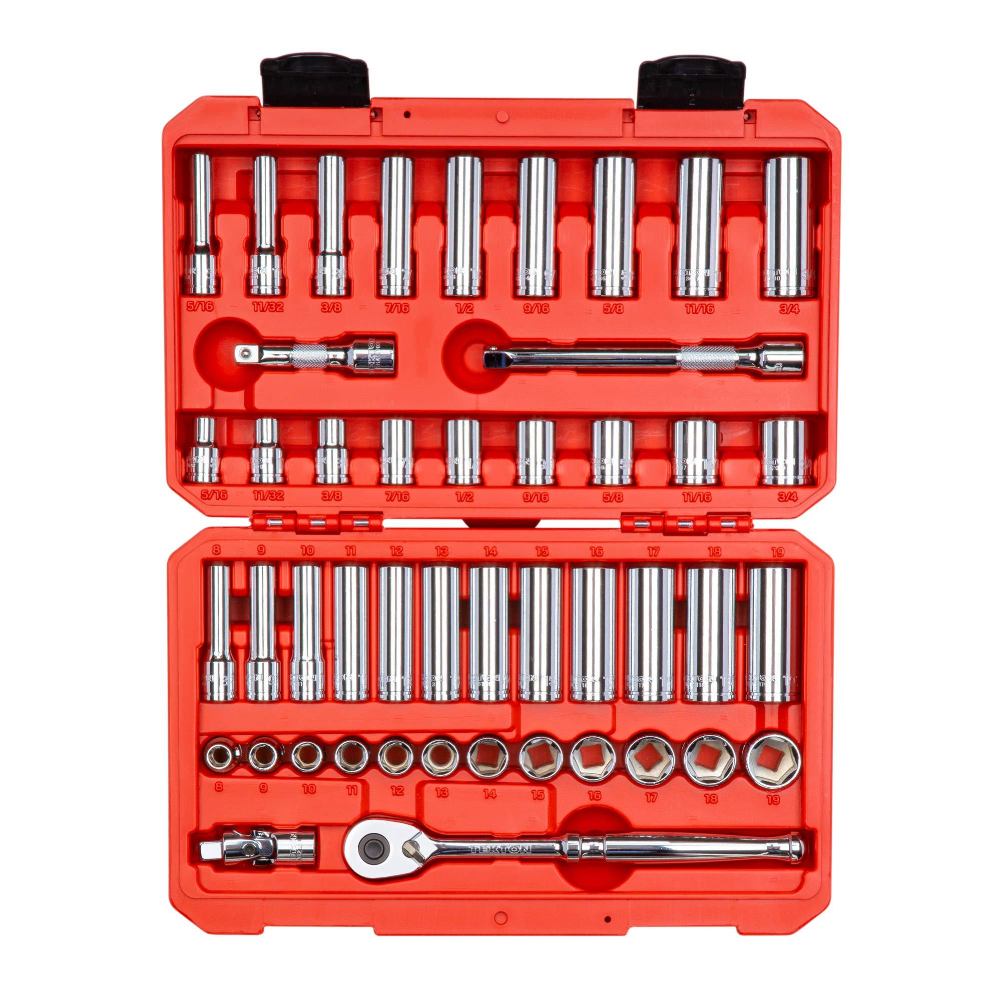 TEKTON 3/8-Inch Drive 6-Point Socket & Ratchet Set, Inch/Metric, 5/16-Inch - 3/4-Inch, 8 mm - 19 mm, 47-Piece (Case)   SKT15301