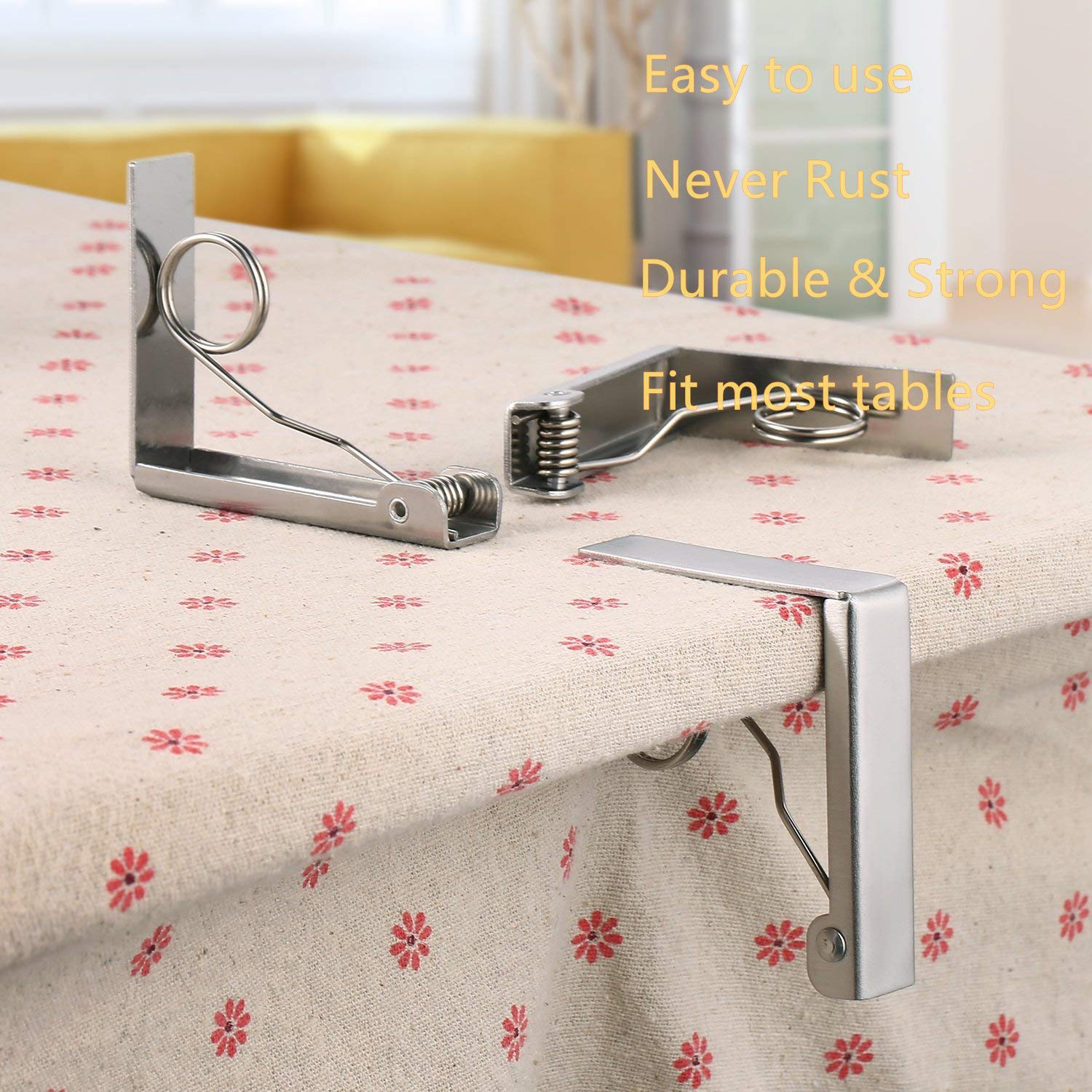 Qrooper Tablecloth Clips Stainless Steel Table Cover Clamps Table Cloth Holders for Outdoor and Indoor Uses by, 8 Count (Suitable for Table Thickness of 2 1/2\'\' or less)