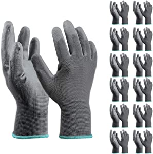 12 Pairs medium gardening gloves for women and child,Thin work gloves, sensitivity work gloves for Gardening, Fishing, Clamming, Restoration Work & More(Grey,Medium)