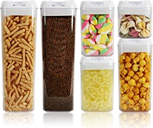 Nicunom Set of 6 Airtight Food Storage Container, Cereal and Pasta Containers with Easy Lock Lids BPA Free Plastic for Kitchen Pantry Organization and Storage Keeping Food Dry & Fresh