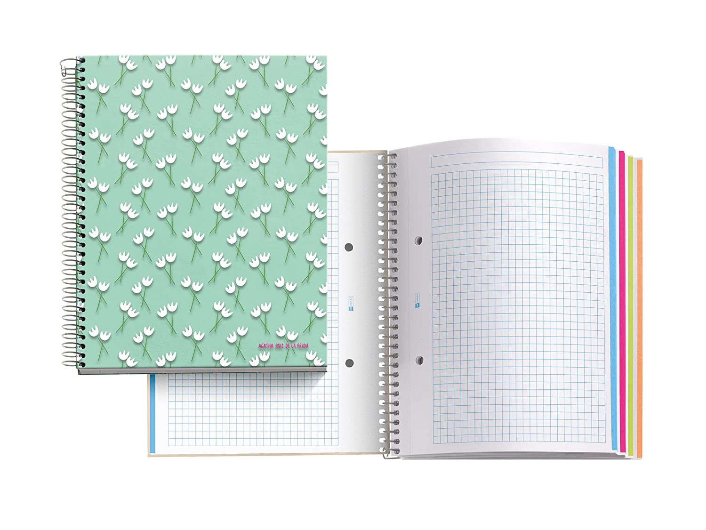 Agatha Ruiz De La Prada 47075–Notebook 4cartone Tulipani, DIN A5, 148x 210mm, 70g/m², 120fogli, a quadretti) MIQUEL-RIUS