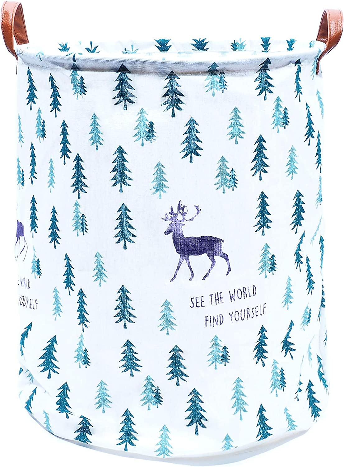 owhizz Reindeer Print Laundry Basket with Leather Handles Waterproof Canvas Large Storage Bin Foldable Organizer (15 Inch, Reindeer and Pine Tree)