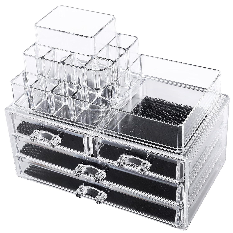 songmics cosmetic organizer scatola organizzatore makeup acrilico porta trucchi ebay. Black Bedroom Furniture Sets. Home Design Ideas